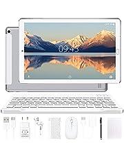 YESTEL Android 10.0 10-inch tablets met 4 GB RAM + 64 GB ROM - WiFi | Bluetooth | GPS, 8000 mAh, met muis | Toetsenbord en omslag - Zilver