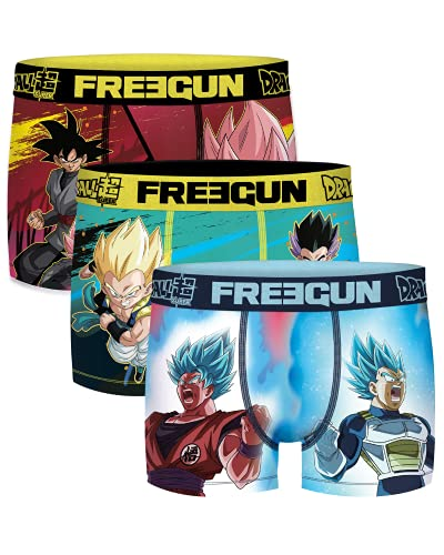 Freegun - Lot de 3 Boxers Fantaisie Homme Microfibre Confort - Disney - Marvel - Looney Tunes - Dragon Ball Z - Star Wars - Pokemon - Mario - Tsubasa - Stormtroopers (Série DragonBallZ, L, l)