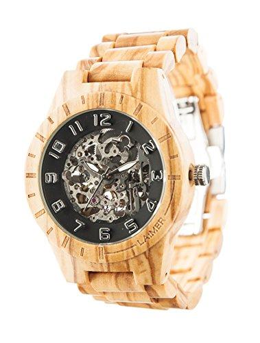 LAiMER 0062 - RICK, Orologio analogico da polso, movimento scheletrato - 21 Jewels, legno di Ulivo, uomo
