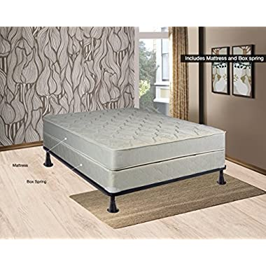 Continental Sleep, 9-inch Gentle firm Innerspring Tight Top Mattress and Traditional Box Spring/foundation set, No Assembly Required, Queen Size