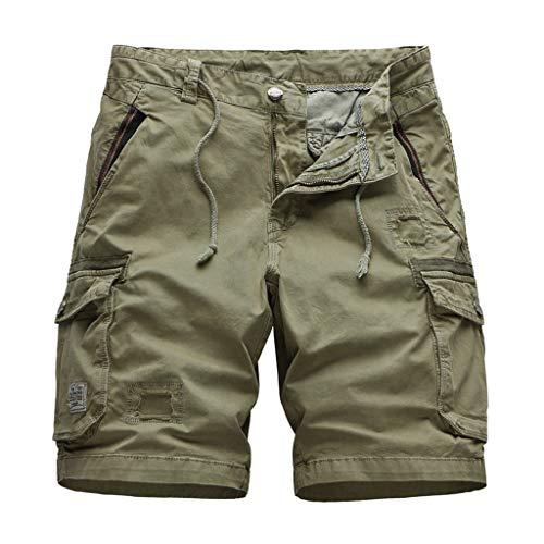 GreatestPAK Kühler Sommer Herren Baumwolle Camouflage Cargoshorts Lässig Kurze Hosen Multi-Pockets 1/2 Overalls,Khaki,EU:L(Tag:34)