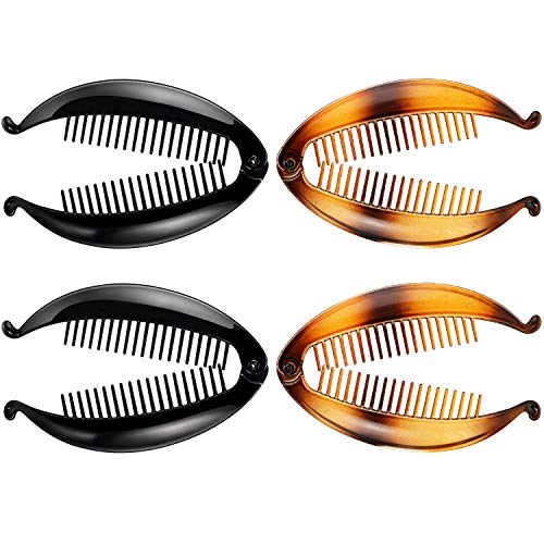 4 Pieces Banana Clips Fish Clips Banana Fish Combs Wide Tort Toned Comb Long Hair Clips Fish Grip Slide Size 14 cm for Ladies (Nero, Marrone Misto)