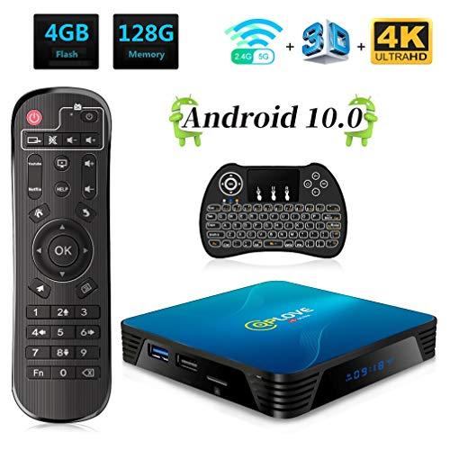 QPLOVE Q8 Android 10.0 TV Box 4GB 128GB RK3318 Quad Core 64bit Dual WiFi 2.4G/5G BT4.0 USB 3.0 3D 4K Smart TV Box Con Mini Tastiera Retroilluminata