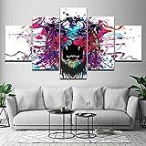 Impreso Wall Art Type Poster HD Canvas Painting Set de 5 Animal Tiger Head Skull Imagen moderna Arte modular Decoración del hogar Pintura Caligrafía con marco No tejido Cinco imágenes NA