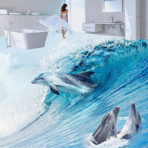 HJLXDP pegatinas de pared infantiles 3d Vinilo autoadhesivo Océano olas animales delfines Pelar y pegar extraíbles encantadores murales de arte de decoración de pared para niñas bebés niños dormitori