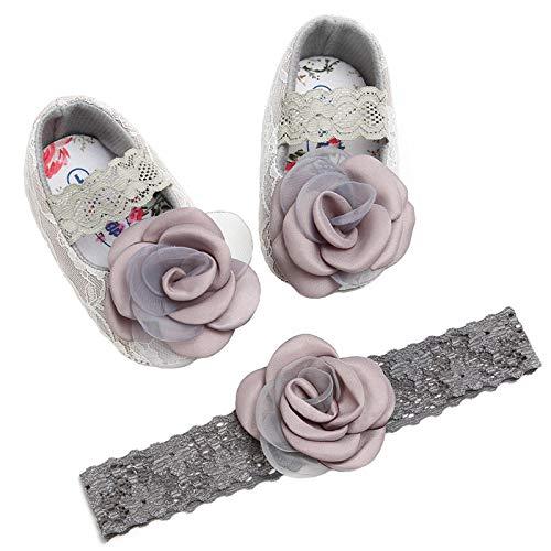 RUXIYI Baby Mädchen 2 Pcs Krabbelschuhe Stirnband, Taufschuhe Prinzessin Schuhe Baumwolle Anti-Rutsch Weiche Sohle Schöne Blume Spitze für 0-18 Monate