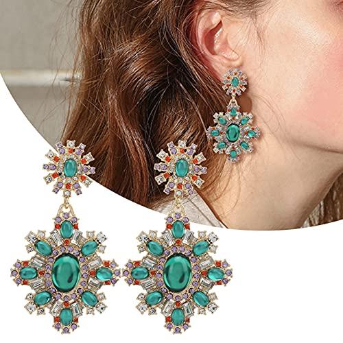 YOIM Pendientes de Flor de Esmeralda, Pendientes de Boda de Cristal para Mujer Pendientes de Cristal Pendientes Colgantes Brillantes para Accesorios de Ropa para joyería de Mujer
