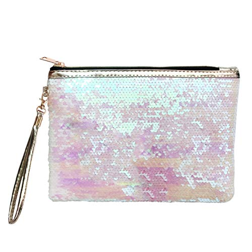 CCbeauty Makeup Bag Reversible Cosmetic Bag Fashion Women Handbag Bling Glitter Sparkling Shiny Clutch Purse Wallet Pouch (Pink+White)
