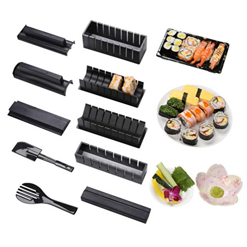 Virklyee Sushi Maker Kit 10 PCS DIY Sushi Set Sushi Making Tools 5 UnicheSushi corredo del creatore Sushi Roll Maker Stampo Facile da Usare Set di Sushi Sushi Kit (Nero)