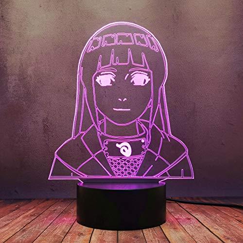 Nórdico moderno dibujos animados LED lámpara Japón anime Uzumaki Naruto Hyuuga Hinata 3D creativo noche luz ilusión hogar dormitorio decoración escritorio viejo sueño comic tienda regalo bombilla