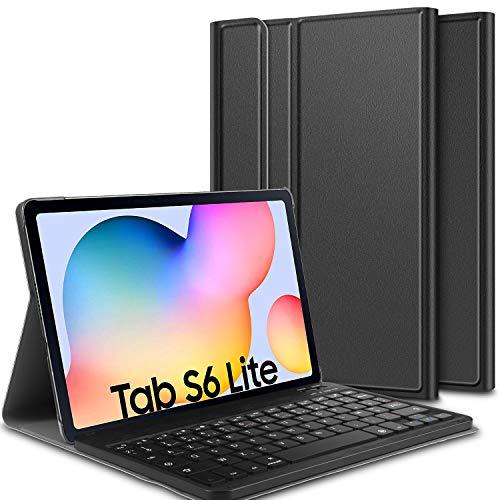ELTD Funda Teclado Español Ñ para Samsung Galaxy Tab S6 Lite 10.5, Protectora Cover Funda con Desmontable Wireless Teclado, (Negro)