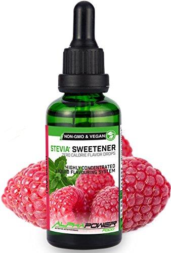 ALPHAPOWER FOOD: Stevia liquida, (1 x50ml Gusto lamponi succosi) Gusto liquido, Gocce aromatizzanti e dolcificante senza zucchero sostituto dello zucchero & calorie, dolcificante naturale, vegano