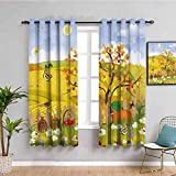Cortinas de privacidad insonorizadas para ventanas con sol, mariposas, pájaros y margaritas en el campo, uso repetible, múltiples W108 x L84 pulgadas