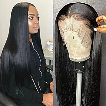ISEE Hair Lace Front Wigs Straight Hair 13x4 Lace Front Wigs Human Hair with Baby Hair Pre Plucked Bleached Knots 150% Density Remy Brazilian Straight Lace Wigs for Black Women  22inch