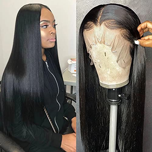 ISEE Hair Lace Front Wigs Straight Hair 13x4 Lace Front Wigs Human Hair with Baby Hair Pre Plucked Bleached Knots 150% Density Remy Brazilian Straight Lace Wigs for Black Women (22inch)