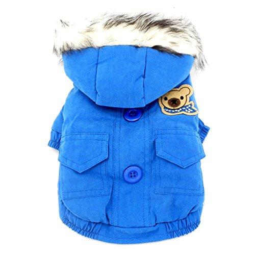 smalllee_lucky_store Dicker Kapuzenanorak mit Baumwollfutter Hundemantel Winter Kapuzen Schal Bär Patch, klein, blau
