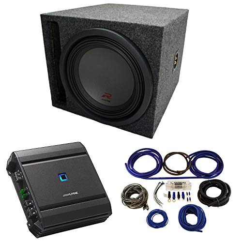 Universal Car Stereo Slotted S Port Single 12' Alpine Type R R-W12D4 Sub Box Enclosure with S-A60M Amplifier & 4GA Amp Kit