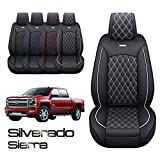2 Front Seat Covers Chevy Silverado GMC Sierra Pickup Custom Fit 2007-2021 1500 2500HD 3500HD Crew Double Extended Cab Waterproof Leather Seat Protectors(2 PCS Front, Black-White) -  YITAI