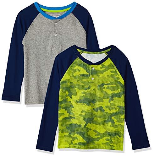Amazon Essentials 2-Pack Boys Long-Sleeve Henley Shirt Camicia, Confezione da 2 Pezzi, Colore: Lime Mimetico, 9-10 Anni