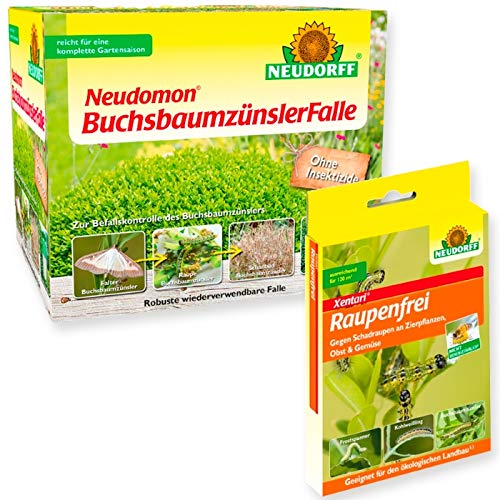 Buchsbaumzünsler Falle Neudomon + 2 x 3 g Raupenfrei Xentari + Gratiszugabe 20g Kressesamen Sprint