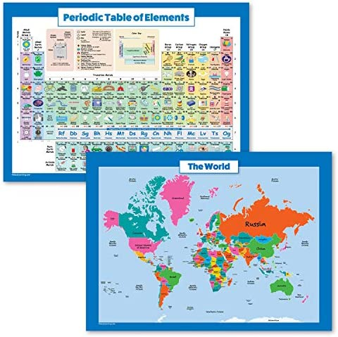 2 Pack World Map for Kids Periodic Table of The Elements Poster Set Map of The World Wall Chart product image