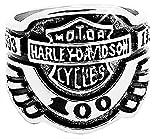 Legisdream Anello Motociclista Harley in Argento con Incisioni Misura IT 16 Gioiello Idea Regalo Uomo per Ogni Occasione