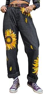 JIXUAN Mujeres Vintage Loose Jeans Fashion Pantalones De Mezclilla con Estampado De Girasol Retro Girls Pantalones Rectos ...