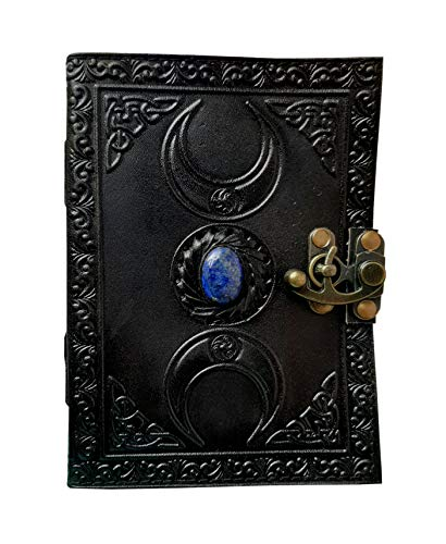 celtic leather grimoire journal with stone black handmade triple moon blank spell witch leather book of shadows wiccan pagan journal daily clasp lock book third eye unlined writing notebook 7x5 inches