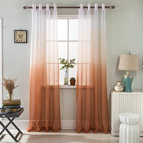 GyroHome Paire de rideaux en tulle transparent dégradé de couleur - Décoration pour la chambre à coucher, le salon - Économie d'énergie - Protection de la vie privée