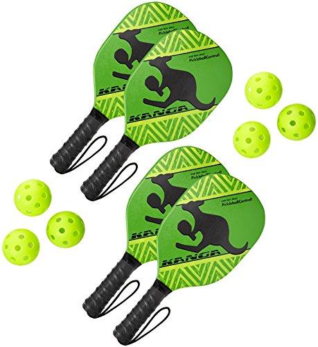 Kanga Beginner Pickleball Paddle Bundle | Set Includes 4 Pickleball Paddles/6 Pickleball Balls | Durable Wood Paddle Construction with Comfort Cushion Grip