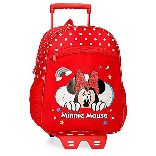Disney Minnie Rainbow Bagagli-Borsa a Tracolla, Rosso, 27x33x11 CMS Bambina
