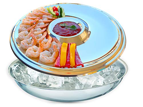 Maverick Unity Shrimp Cocktail Serving Dish and Bowl With Ice - Elegant and Large for Seafood, Oysters, Veggies, Fruits, Snacks, Salads.