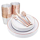 I00000 25Guest Rose Gold Plastic Plates with Disposable Silverware & Cups, Plastic Dinnerware Set Includes 25 Dinner Plates 10.25', 25 Salad Plates 7.5', 25 Tumblers, 25 Forks, 25 Knives, 25 Spoons