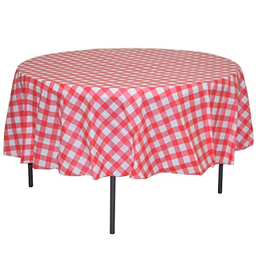 MATENG 10 Pack Premium Round Plastic Checkered BBQ Tablecloth Gingham Checkerboard Disposable Plastic Tablecloth 70.8 inch. (Red)