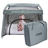 Flisko 2 in 1 Travel Crib & Bassinet – Lightweight, Pack Play-Yard for Infants & Toddlers. Simple Assembly & Easily Collapsible. Portable Crib, Baby Bed. Mattress & Fitted Sheet Included