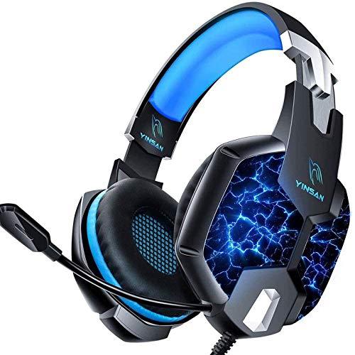 YINSAN PS4 Headset Gaming Headset für Xbox One, 7 LED Leuchten Stereo Surround Sound Soft Memory Ohrenschützer Gaming Kopfhörer mit Mikrofonabschaltung und Lautstärkeregler PC Headset (Blau)