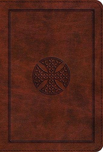 ESV Large Print Compact Bible (TruTone, Brown, Mosaic Cross Design)