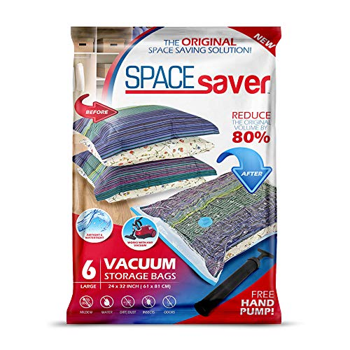 Spacesaver Premium Vacuum Storage Bags. 80% More Storage! Hand-Pump for Travel! Double-Zip Seal and Triple Seal Turbo-Valve for Max Space Saving! (Large 6 Pack)