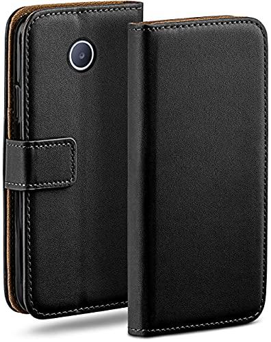 moex Klapphülle kompatibel mit Huawei Ascend Y330 Hülle klappbar, Handyhülle mit Kartenfach, 360 Grad Flip Hülle, Vegan Leder Handytasche, Schwarz