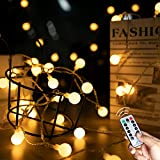 33Ft 100 LED Mini Ball String Lights, Fairy Lights with Remote, 8 Lighting Modes and Timer Function for Bedroom, Garden, Patio, Wedding, Christmas Tree, Warm White