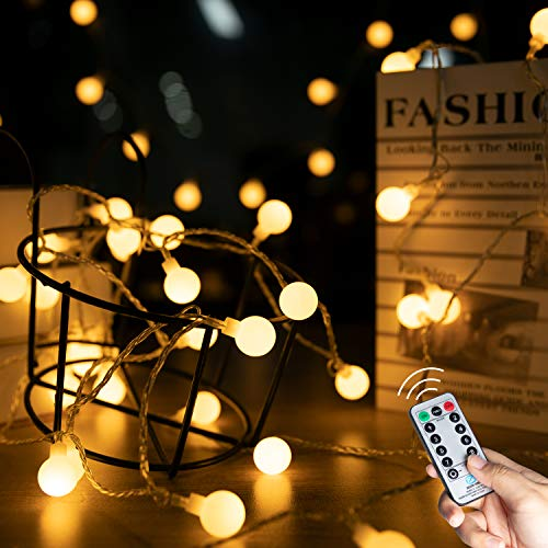 33 Feet 100 Led Mini Globe String Lights, Fairy Lights with Remote, 8 Lighting Modes and Timer Function for Bedroom, Garden, Patio, Wedding, Christmas Tree, Warm White