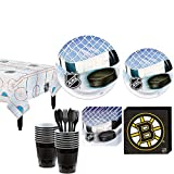 Party City Boston Bruins Party Kit for 16 Guests, Includes Table Cover, Plates, Napkins and More