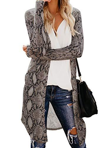 GOSOPIN Women Cozy Open Front Long Sleeve Long Knit Cardigans Sweater XX-Large Snake Grain Muticolor
