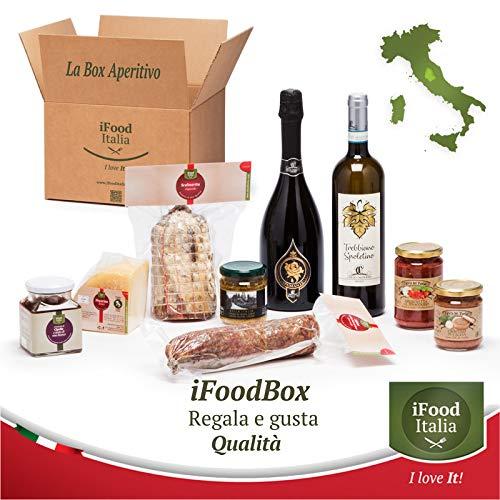 iFoodBox Aperitif Sortiment Geschenkveranstaltung Verkostung 2 Flaschen Wein 2 Wurstwaren Pecorino Käse 4 Saucen Croutons Umbrien iFood Italia Made in Italy