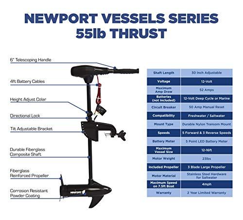 Newport Vessels NV-Series 55lb Thrust Saltwater Transom Mounted Trolling Motor