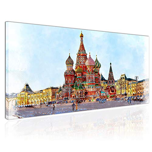 Topquadro Cuadro XXL sobre Lienzo, Imagen Panorámica 100x50cm, Moscú Rusia, Palacio de Colores, Diseño Estilizado, Colores - Decoración de Pared, Imagen Panorámica - Una Pieza