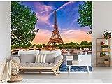 Fotomural Vinilo para Pared Torre Eiffel al Atardecer | Fotomural para Paredes | Mural | Vinilo Decorativo | Varias Medidas 200 x 150 cm | Decoración comedores, Salones, Habitaciones.