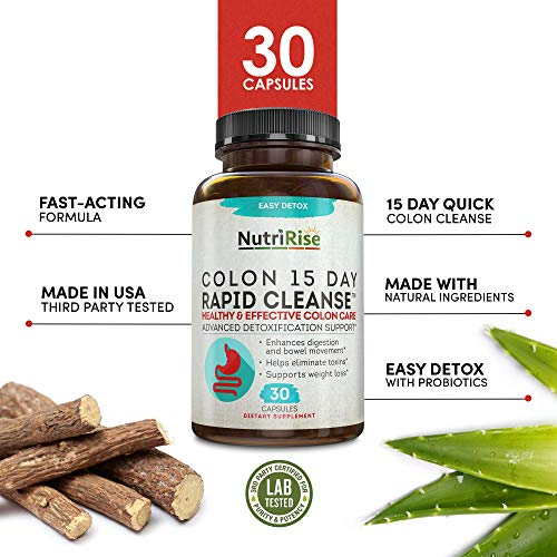 Colon Cleanser Detox for Weight Loss. 15 Day Fast-Acting Extra-Strength Cleanse with Probiotic & Natural Laxatives for Constipation Relief & Bloating Support. 30 Detox Pills to Detoxify & Boost Energy 6