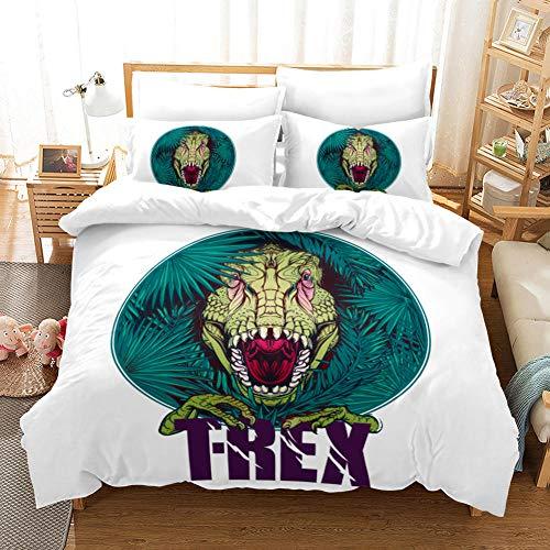 BFSOC 3D Duvet Covers Green Dinosaur Double Microfiber Quilt Cover Bedding Set With Pillocases 3 Pcs Bedding Set 95 X 86.7 inch