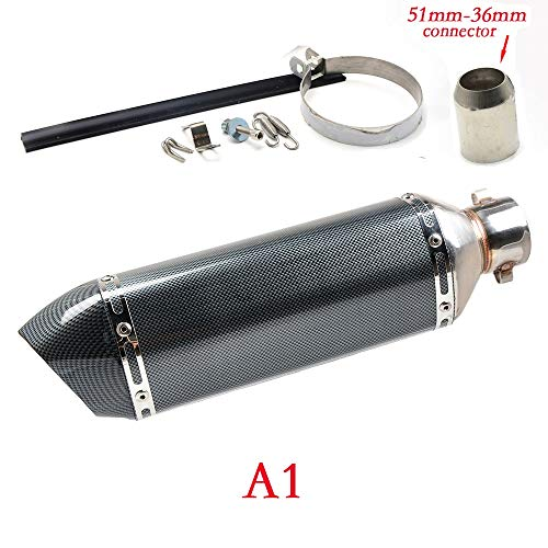 SUSHANCANGLONG Universal Gy6 Motorcycle Scooter de Escape Modificado Muffler Escape para Honda CBR 125 250 CB400 CB600 YZF FZ400 Z750 Honelet (Color : A 51 36)